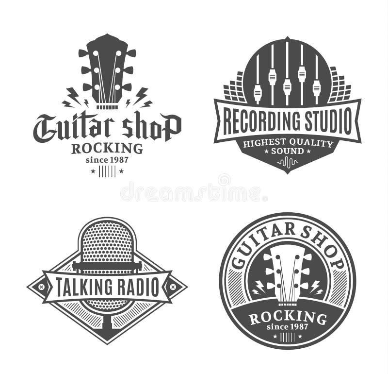 Sistema de logotipo de la música del vector, de iconos y de elementos del diseño ilustración del vector