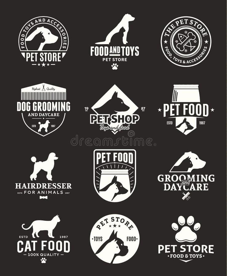Sistema de logotipo y de iconos del animal doméstico del vector stock de ilustración