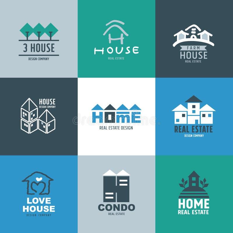 Sistema de logotipo y de muestras de las propiedades inmobiliarias stock de ilustración