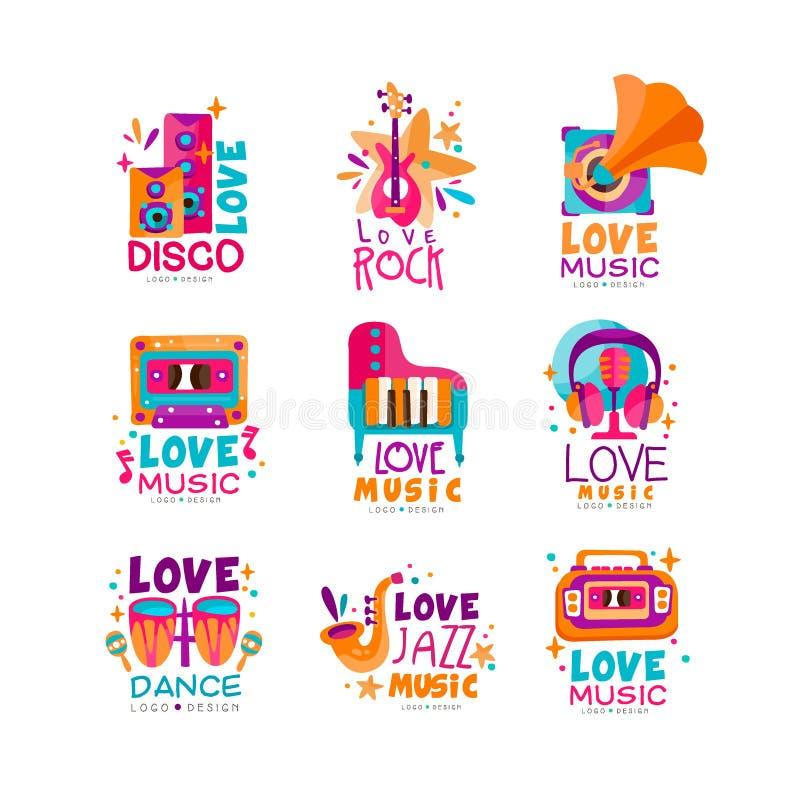 Sistema de logotipos brillantes de la música con los instrumentos musicales, el casete, la grabadora, el gramófono y subwoofers D ilustración del vector