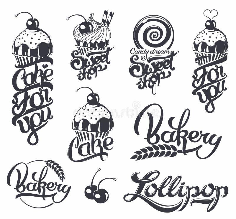 Sistema de logotipos caligráficos stock de ilustración