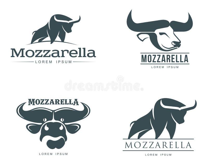 Sistema de logotipos con queso de la mozzarella del búfalo ilustración del vector