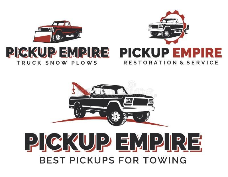 Sistema de logotipos, de emblemas y de iconos retros de las camionetas pickup libre illustration