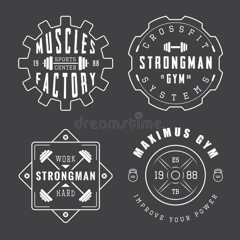 Sistema de logotipos, de etiquetas y de lemas del gimnasio en estilo del vintage ilustración del vector