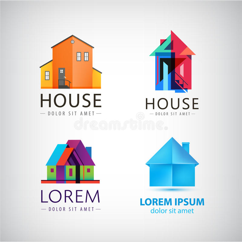 Sistema de logotipos de la casa, propiedad, propiedades inmobiliarias del vector ilustración del vector