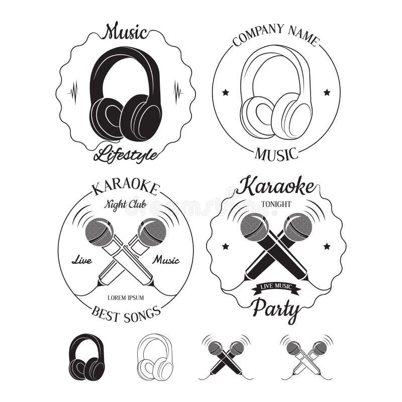 Sistema de logotipos de la música y del Karaoke, de etiquetas, de insignias y de elementos del diseño ilustración del vector