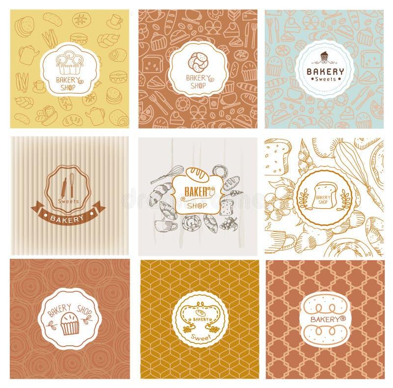 Sistema de logotipos de la panadería del vector Etiquetas del pan y de los pasteles ilustración del vector