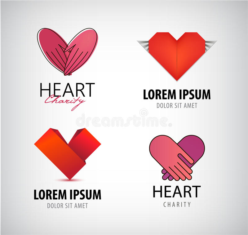 Sistema de logotipos de los corazones, caridad del vector libre illustration