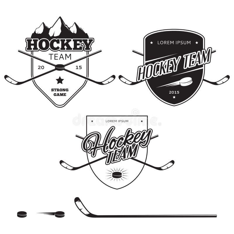 Sistema de logotipos de los equipos de hockey del hielo, de insignias y de elementos del diseño stock de ilustración