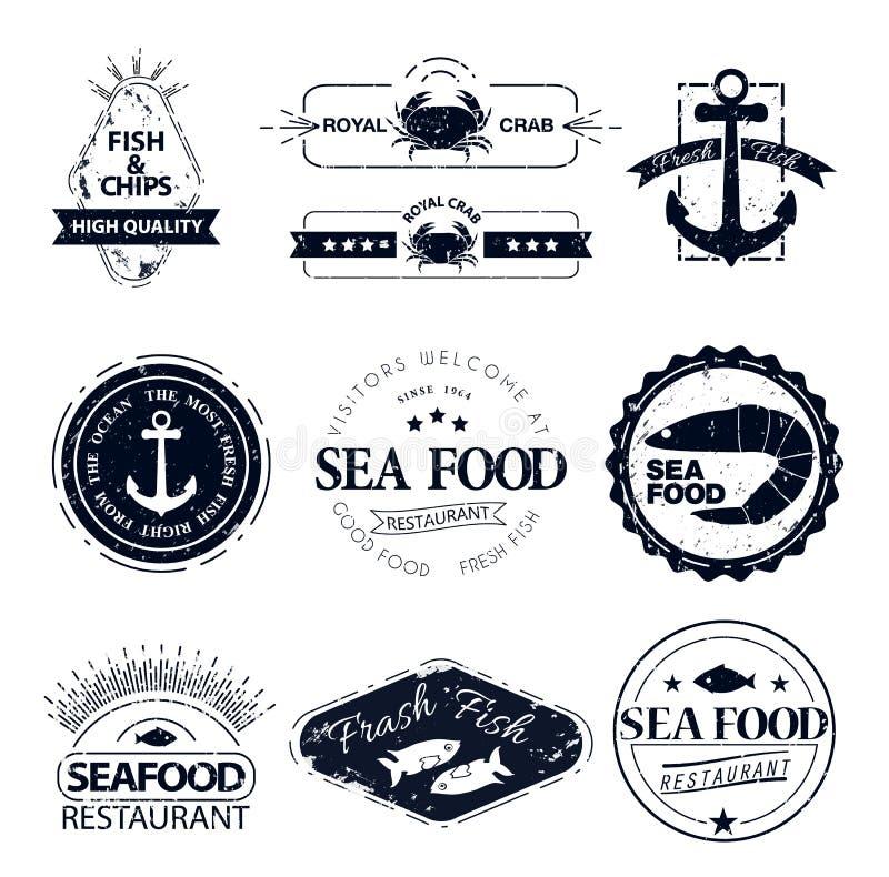 Sistema de logotipos de los mariscos Restaurante de la langosta del cangrejo ilustración del vector