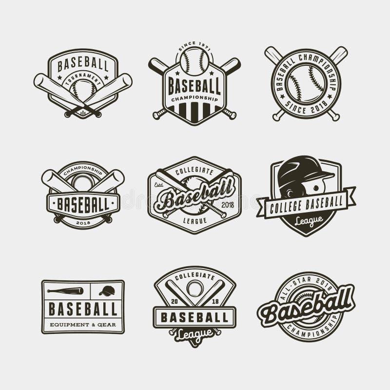 Sistema de logotipos del béisbol del vintage Ilustración del vector foto de archivo