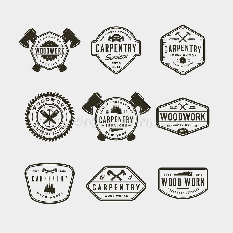 Sistema de logotipos de la carpintería del vintage Ilustración del vector imágenes de archivo libres de regalías