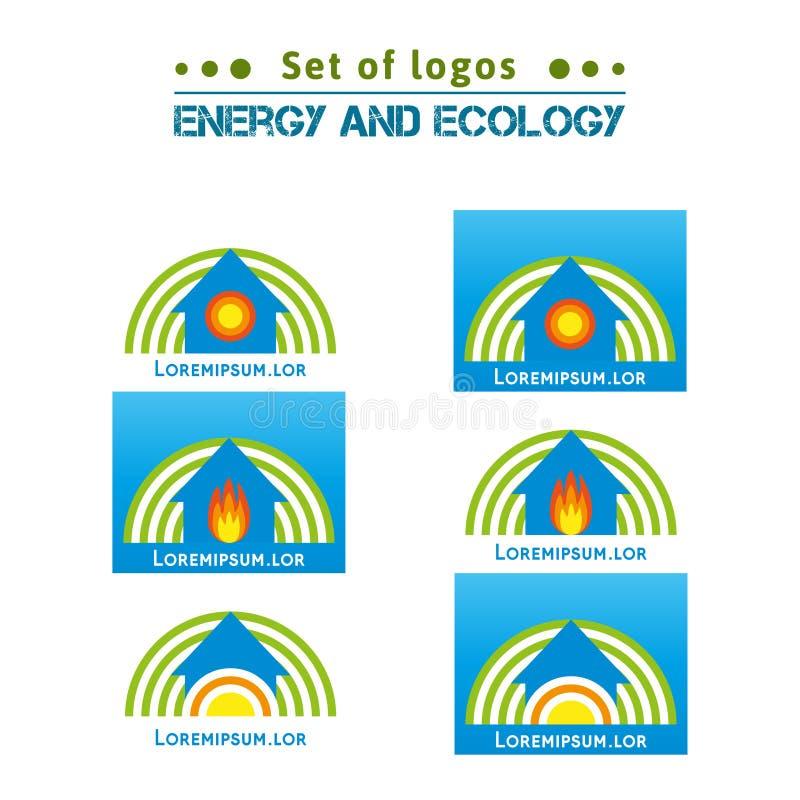 Sistema de logotipos sobre la energía y la ecología, hogares de calefacción EPS, JPG ilustración del vector