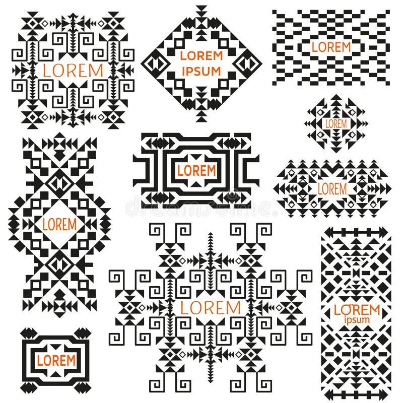 Sistema de logotipos tribales Estilo étnico Adornos indios o asiáticos americanos ilustración del vector