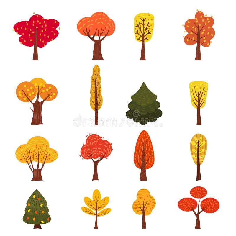 Sistema de los árboles del otoño, diversos tipos, diseño moderno de la tendencia, estilo lindo, vector, ejemplo, aislado ilustración del vector