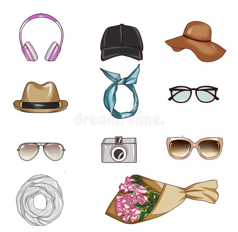 Sistema de los accesorios de diversa mujer stock de ilustración