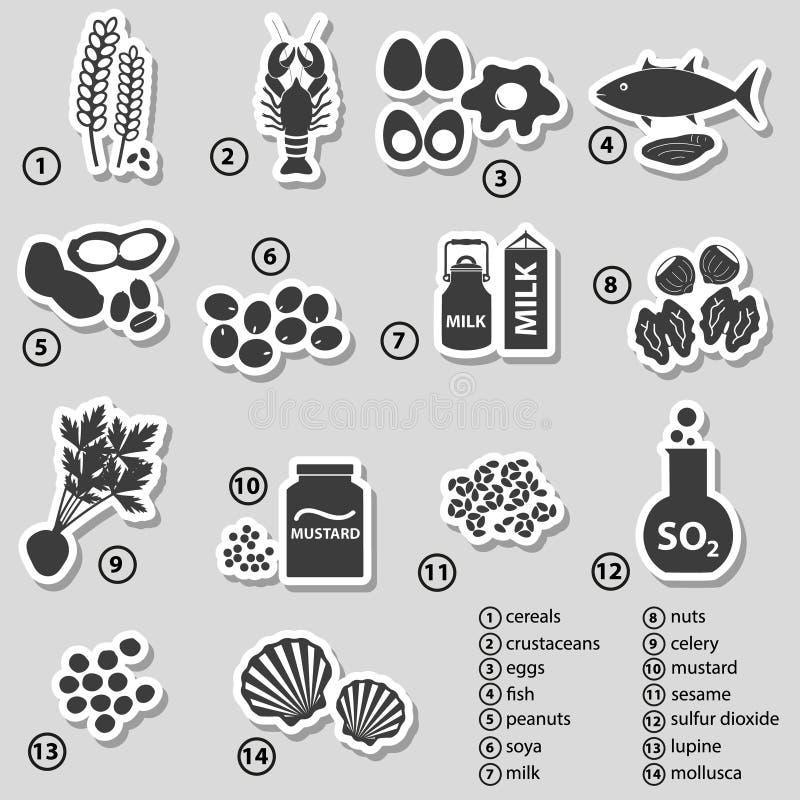 Sistema de los alergénicos típicos de la comida para las etiquetas engomadas de los restaurantes ilustración del vector