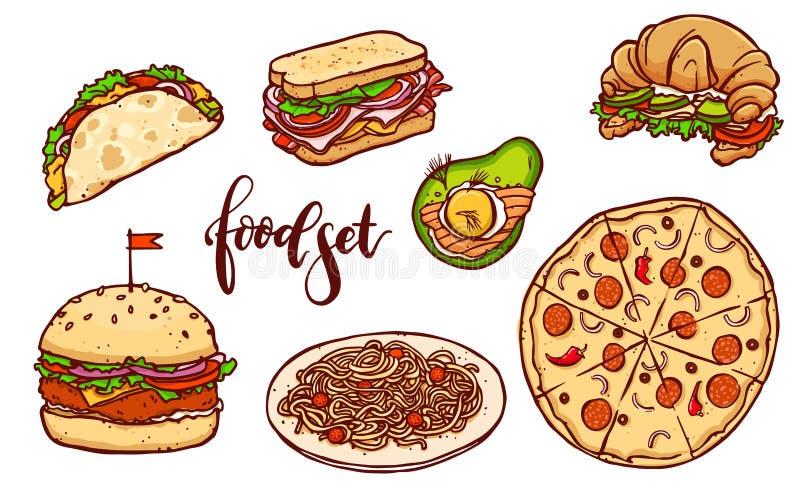Sistema de los alimentos de preparación rápida de los países diferentes Ejemplo dibujado mano aislado vector de la comida ilustración del vector