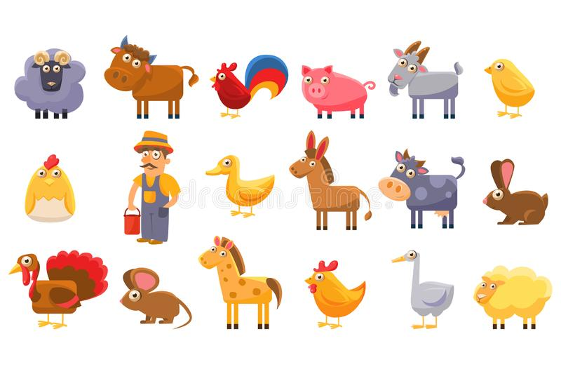 Sistema de los animales del campo, ejemplos masculinos del vector del granjero, del ganado y de la historieta de los animales dom stock de ilustración