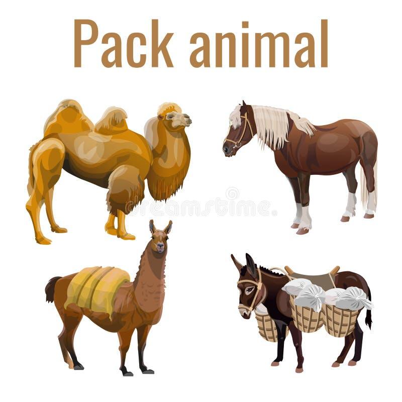Sistema de los animales de paquete stock de ilustración