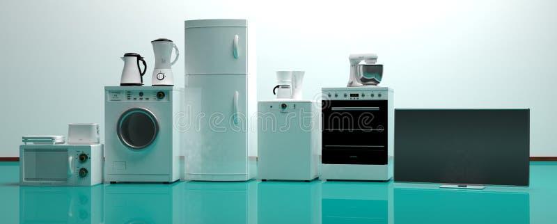 Sistema de los aparatos electrodomésticos en un piso verde ilustración 3D stock de ilustración