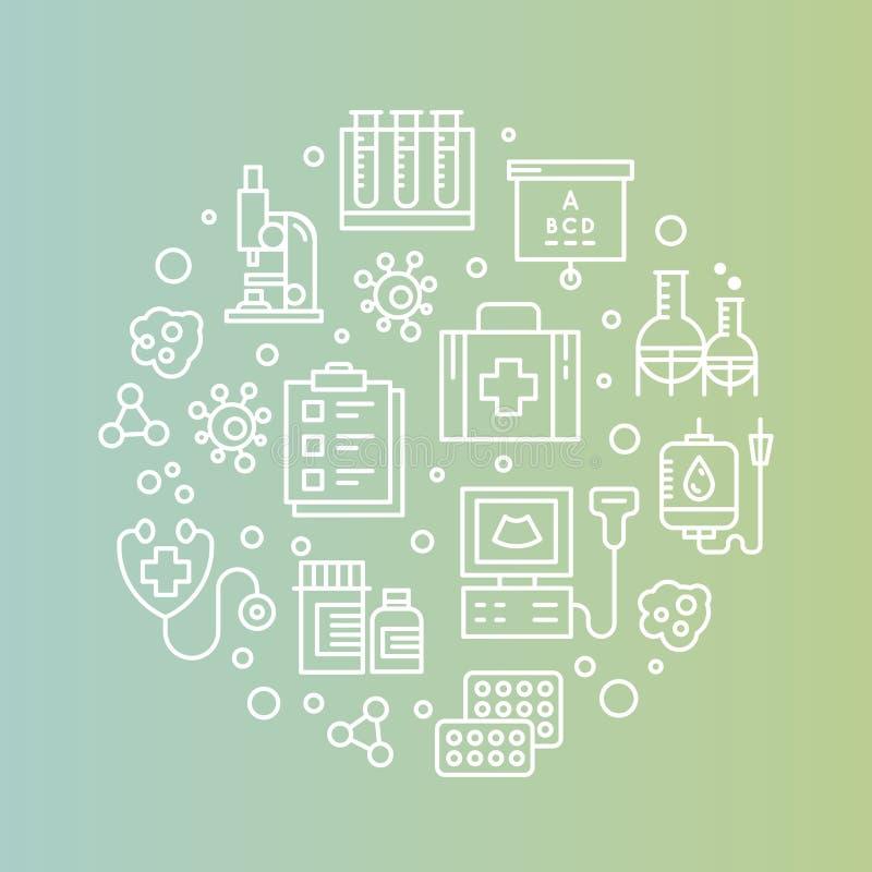 Sistema de los artículos médicos y de la investigación en asistencia sanitaria, seguro, MRI, exploración, formas del chequeo, pru ilustración del vector