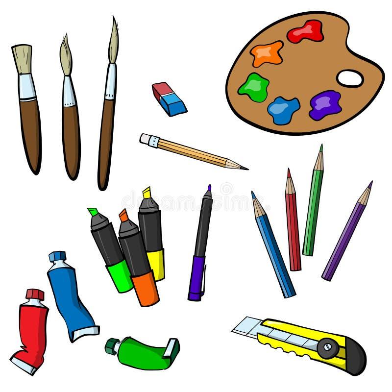 Sistema de los artículos para dibujar stock de ilustración