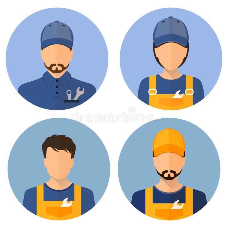 Sistema de los avatares de los constructores constructores Estilo plano de los iconos del círculo Constructor de sexo masculino stock de ilustración