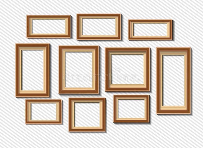 Sistema de los bastidores blancos de la foto en fondo gris stock de ilustración