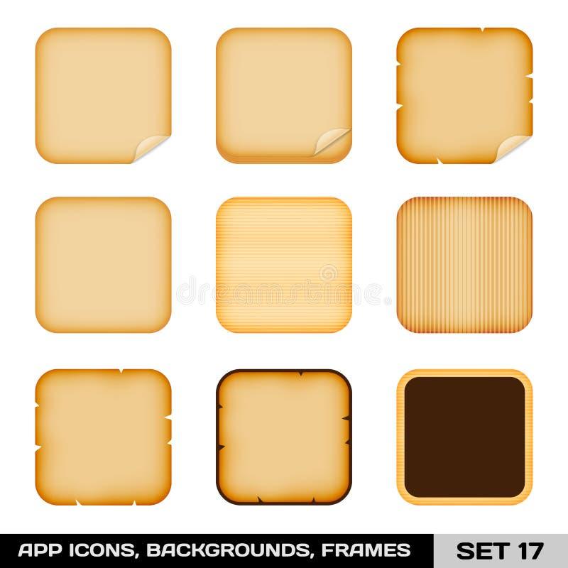 Sistema de los bastidores coloridos del icono del App, plantillas, antecedentes. Sistema 17 ilustración del vector