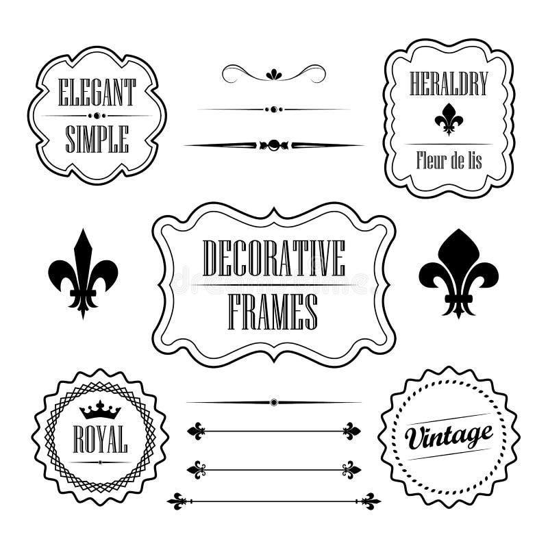 Sistema de los bastidores, de las fronteras y de los divisores decorativos - estilo retro del vintage stock de ilustración