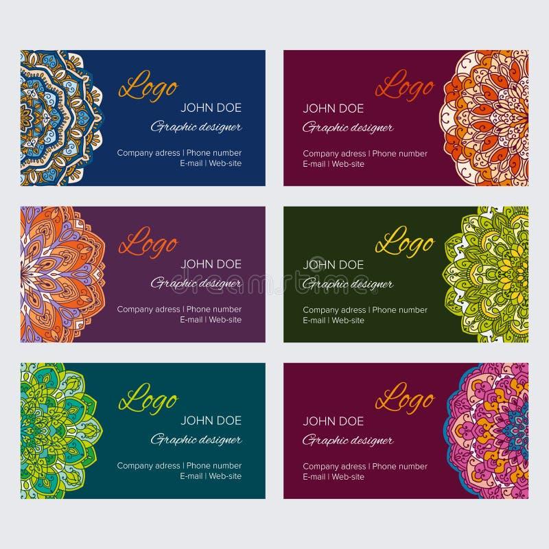 Sistema de los bastidores orientales decorativos coloridos para el web y la identidad libre illustration