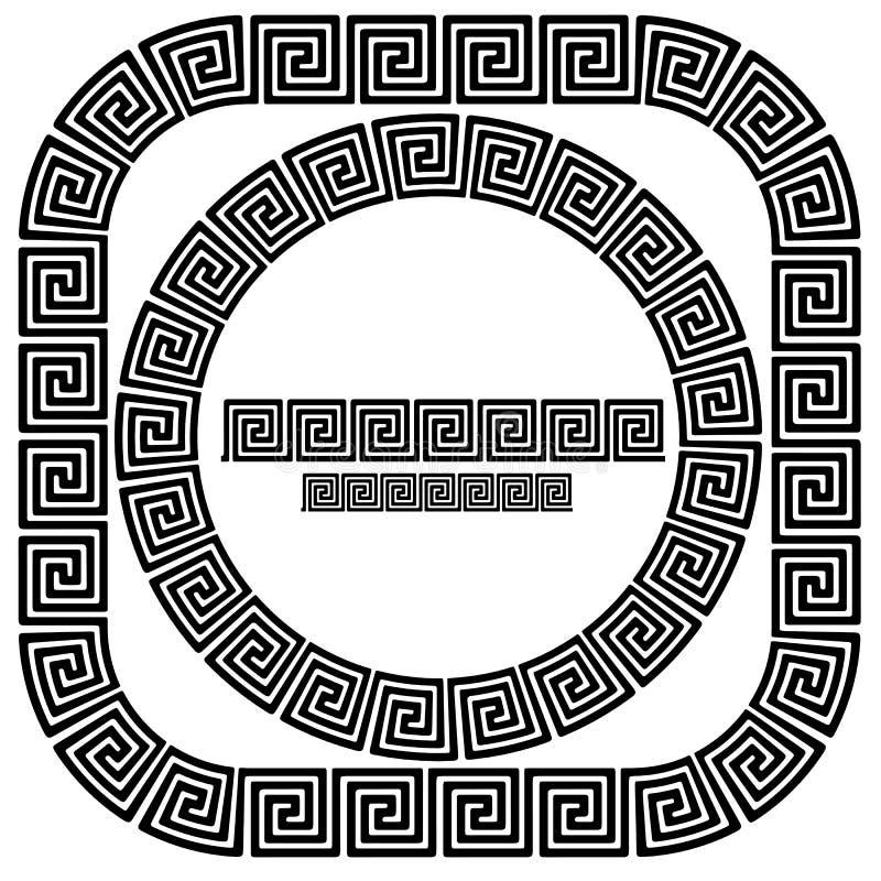 Sistema de los bastidores ornamentales griegos ilustración del vector