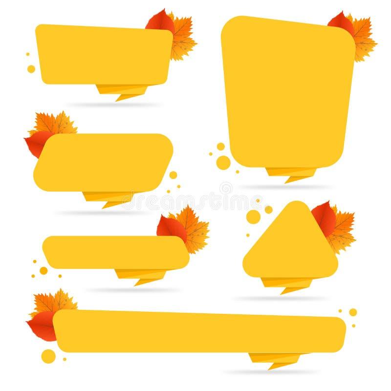 Sistema de los boletos del descuento del otoño del vector, etiquetas, sellos, etiquetas engomadas con las hojas coloridas libre illustration