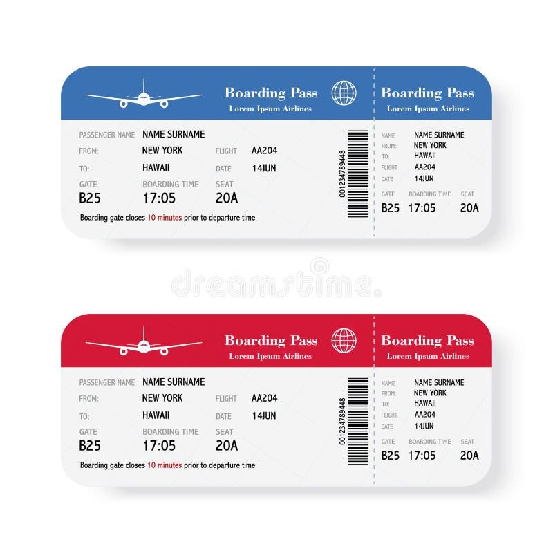 Sistema de los boletos del documento de embarque de la línea aérea con la sombra Aislado en el fondo blanco Ilustración del vecto stock de ilustración