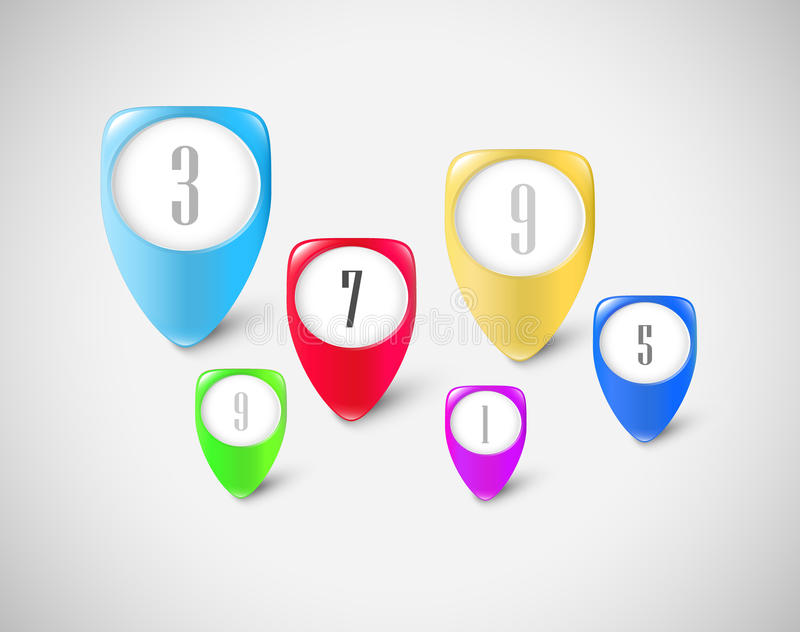 Marcadores del botón fijados imagen de archivo libre de regalías