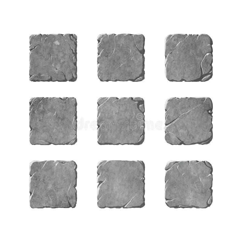 Sistema de los botones y de los elementos de piedra stock de ilustración