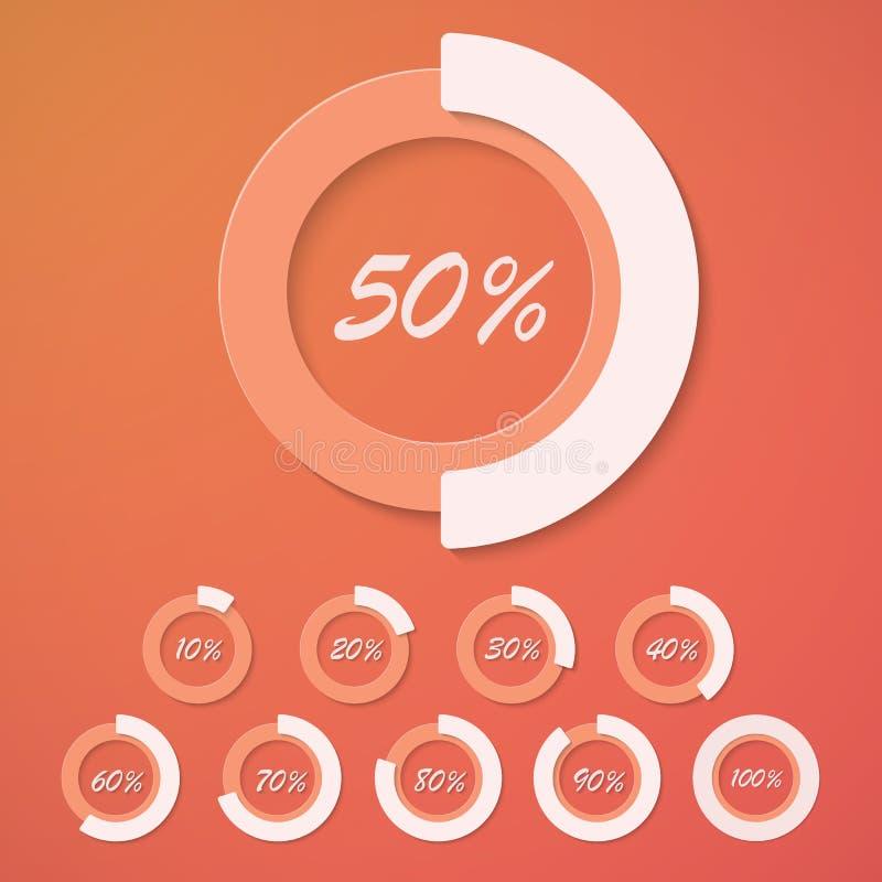 Sistema de los círculos del por ciento del diagrama de Infographic, insignias de la venta del descuento ilustración del vector