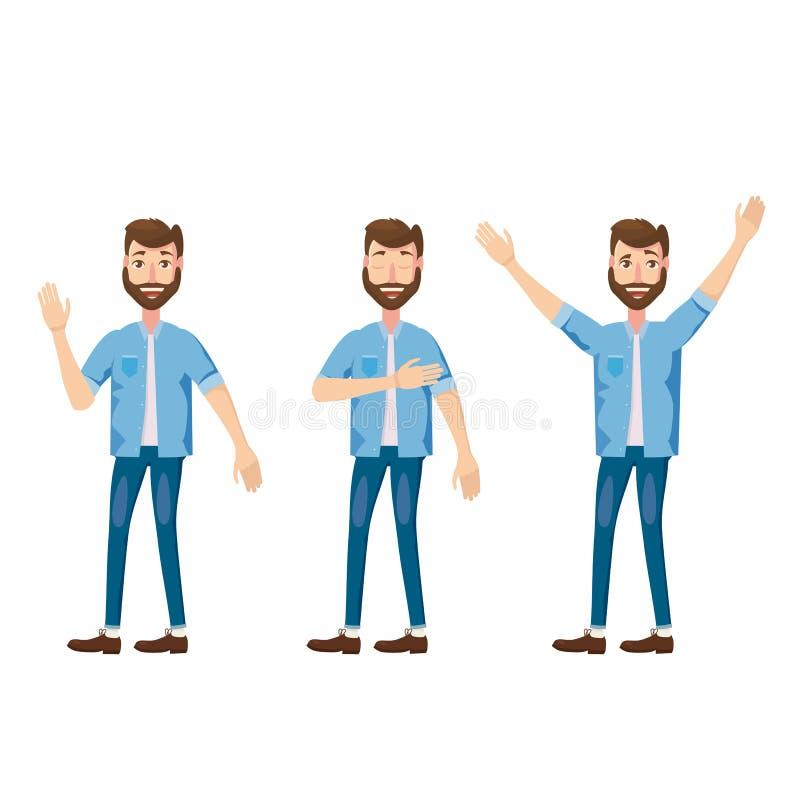 Sistema de los caracteres barbudos jovenes, emociones alegría, felicidad, placer, movimiento, estilo de la historieta, vector, ej stock de ilustración