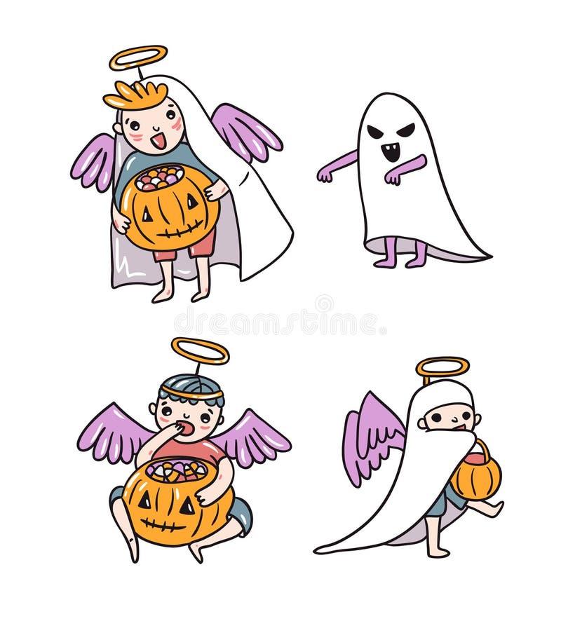 Sistema de los caracteres de Halloween Niños en trajes Fantasma y ángeles con la calabaza y los dulces stock de ilustración