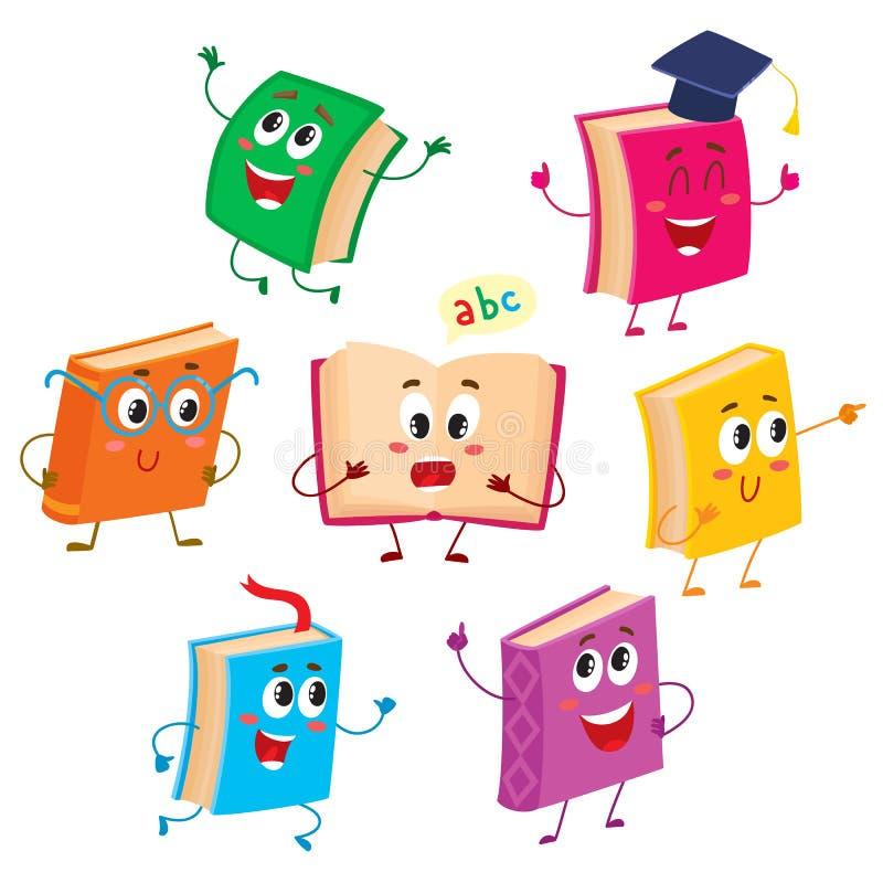Sistema de los caracteres del libro divertido, mascotas, ejemplo del vector de la historieta ilustración del vector
