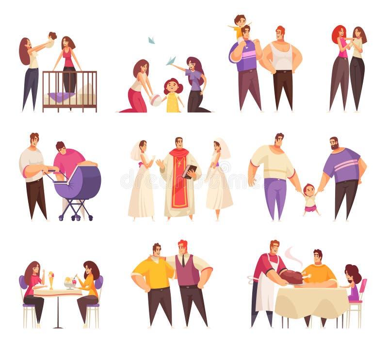 Sistema de los caracteres de la gente de LGBT libre illustration