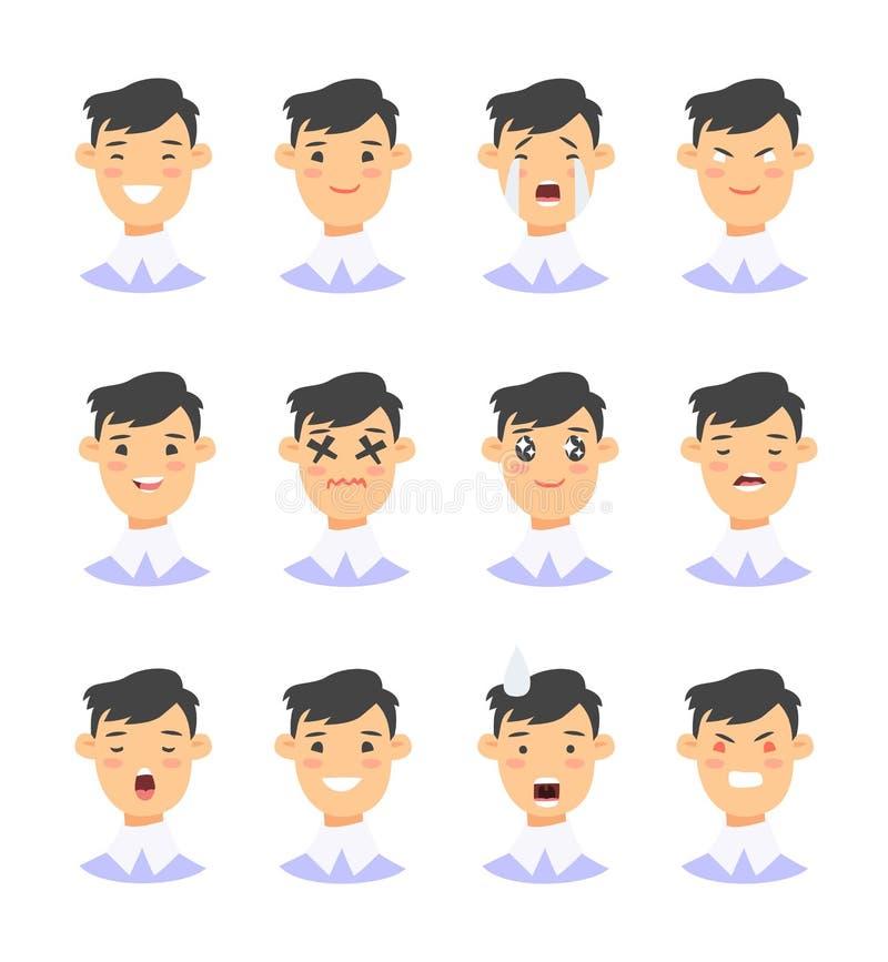 Sistema de los caracteres masculinos del emoji Iconos de la emoción del estilo de la historieta Avatares aislados de los muchacho stock de ilustración