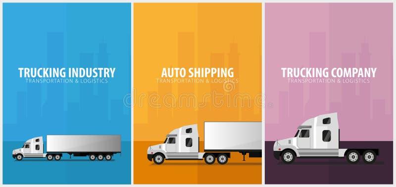 Sistema de los carteles del transporte por camión, logístico y de la entrega Semi carro Ilustración del vector libre illustration