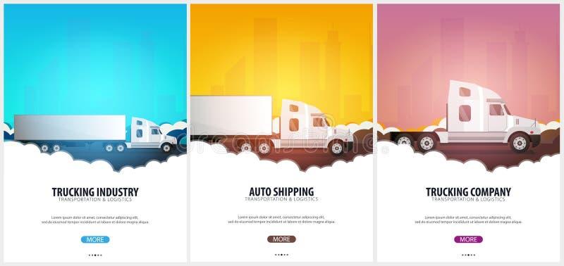 Sistema de los carteles del transporte por camión, logístico y de la entrega Semi carro Ilustración del vector stock de ilustración