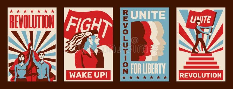 Sistema de los carteles de la revolución ilustración del vector