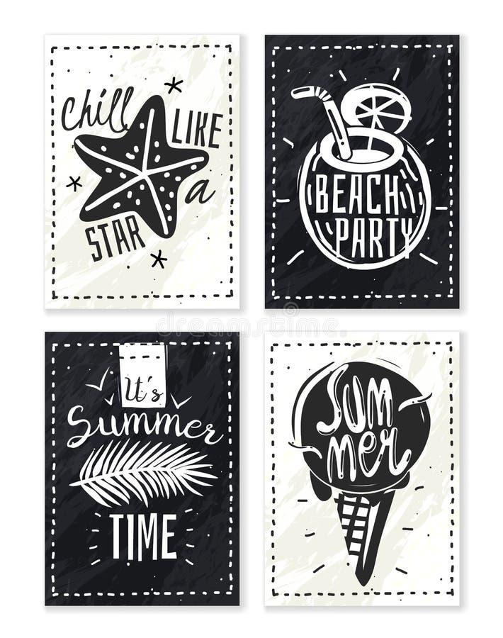 Sistema de los carteles de la tiza de las vacaciones de verano stock de ilustración