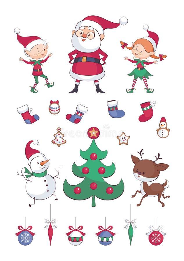 Sistema de los clip art de la Navidad ilustración del vector