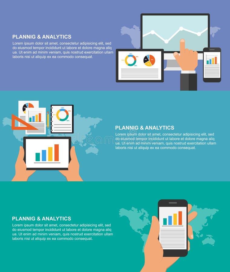 Sistema de los conceptos de diseño planos para la planificación de empresas y los analytics libre illustration
