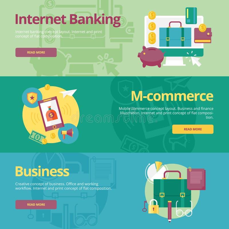Sistema de los conceptos de diseño planos para las actividades bancarias móviles, m-comercio, negocio libre illustration